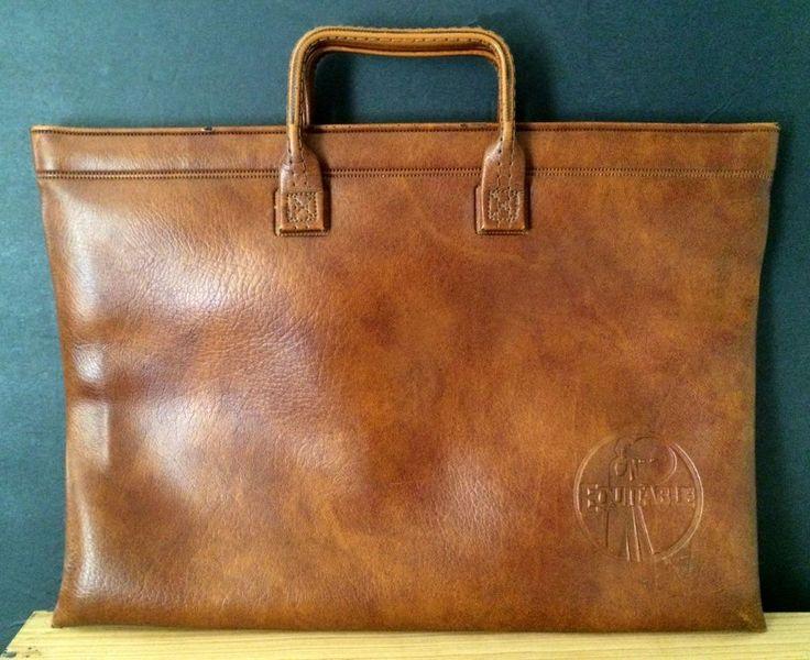 Vintage Bank Deposit Bag Brown Faux Leather Equitable Life Assurance Insurance