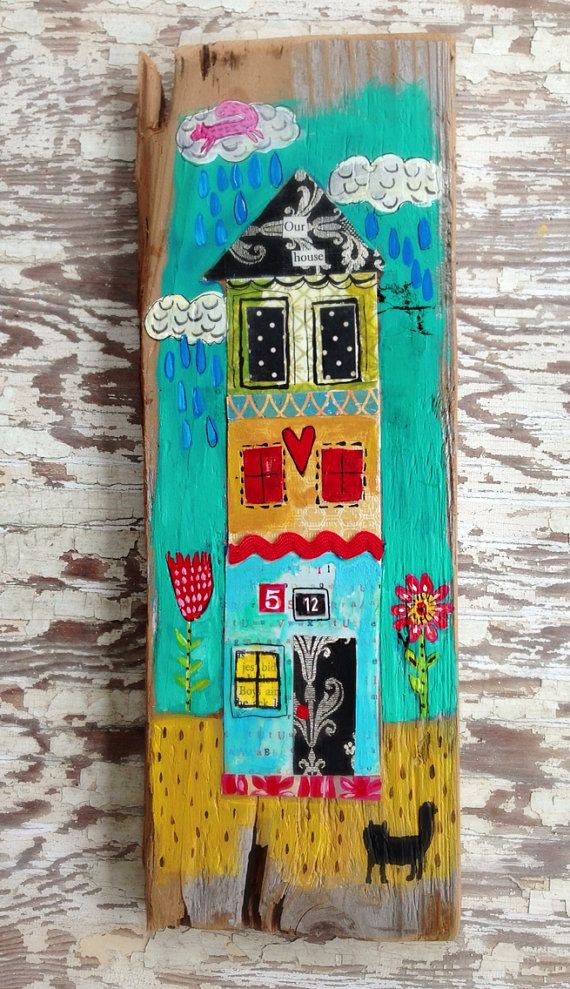 Our House Folk Art Mixed  Media on Etsy, $38.00