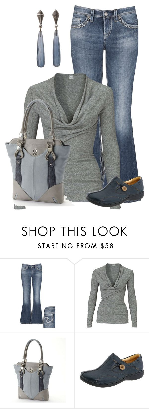 """""""Everyday"""" by glinwen ❤ liked on Polyvore featuring Silver Jeans Co., Bobi, Jennifer Lopez, Clarks and Rachel Leigh"""