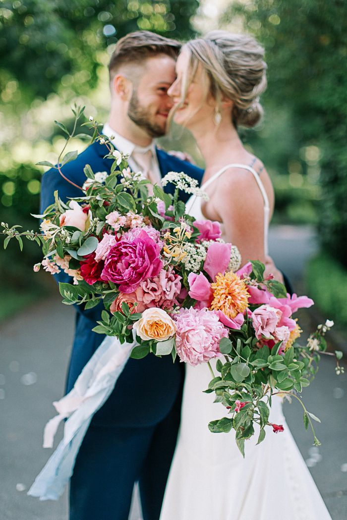 Oversized Pink Bouquet with Summer Greenery    #wedding #weddings #weddingideas #weddingshoot #garden #bride #bouquet #bridalbouquet #weddingdress