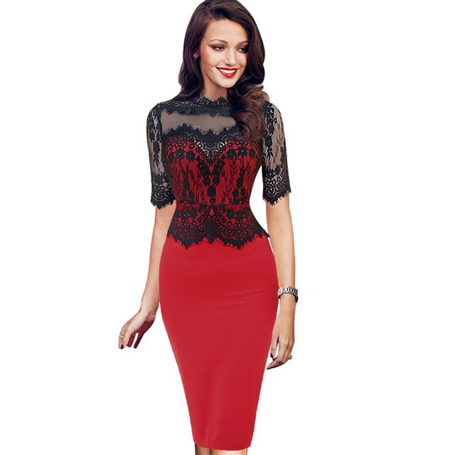 Vfemage Womens Elegant Vintage Pinup Retro Floral Lace Peplum See Through Mesh Patchwork Party Club Bodycon Fitted Dress 1796