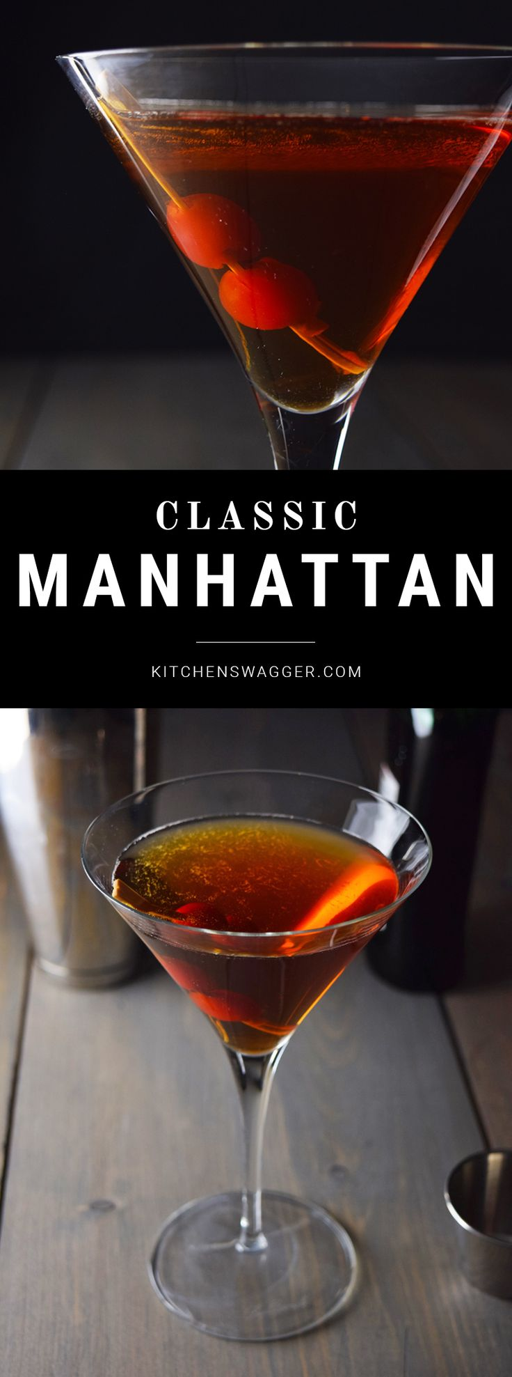 Classic Manhattan cocktail made with bourbon, bitters, and sweet vermouth.