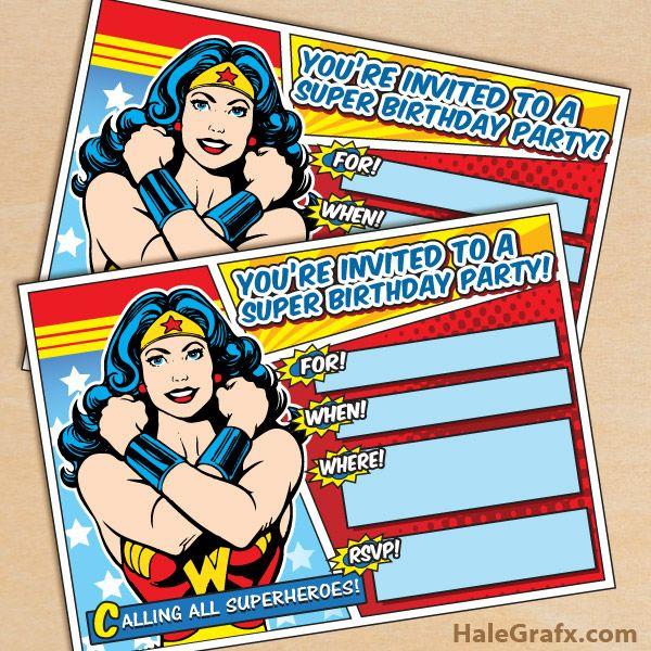 Free Printable Wonder Woman party invitation