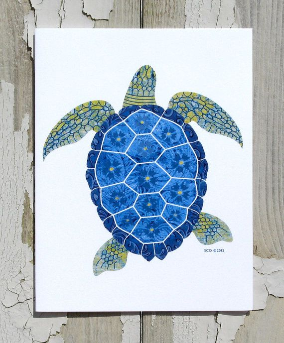 Note Card / Whimsical Sea Turtle / Sea Life / Beach Art / Thank You / All Occasion / Printed from My Original Coastal Illustration