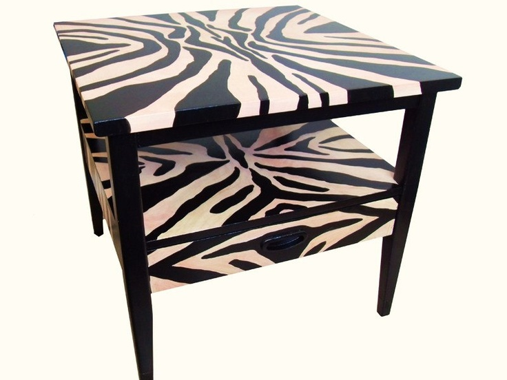 Zebra Style Danish End Table Hand Painted With By Dsartereno, $149.00