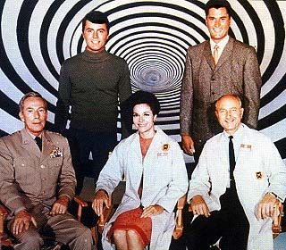 Cast of THE TIME TUNNEL  Doug Phillips (Robert Colbert) and Tony Newman (James Darren) WERE THE TIME TRAVELERS