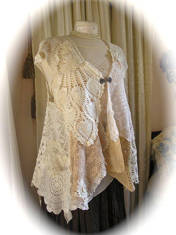 Handmade Doily Vest, crochet doily dress cover, lagenlook ...