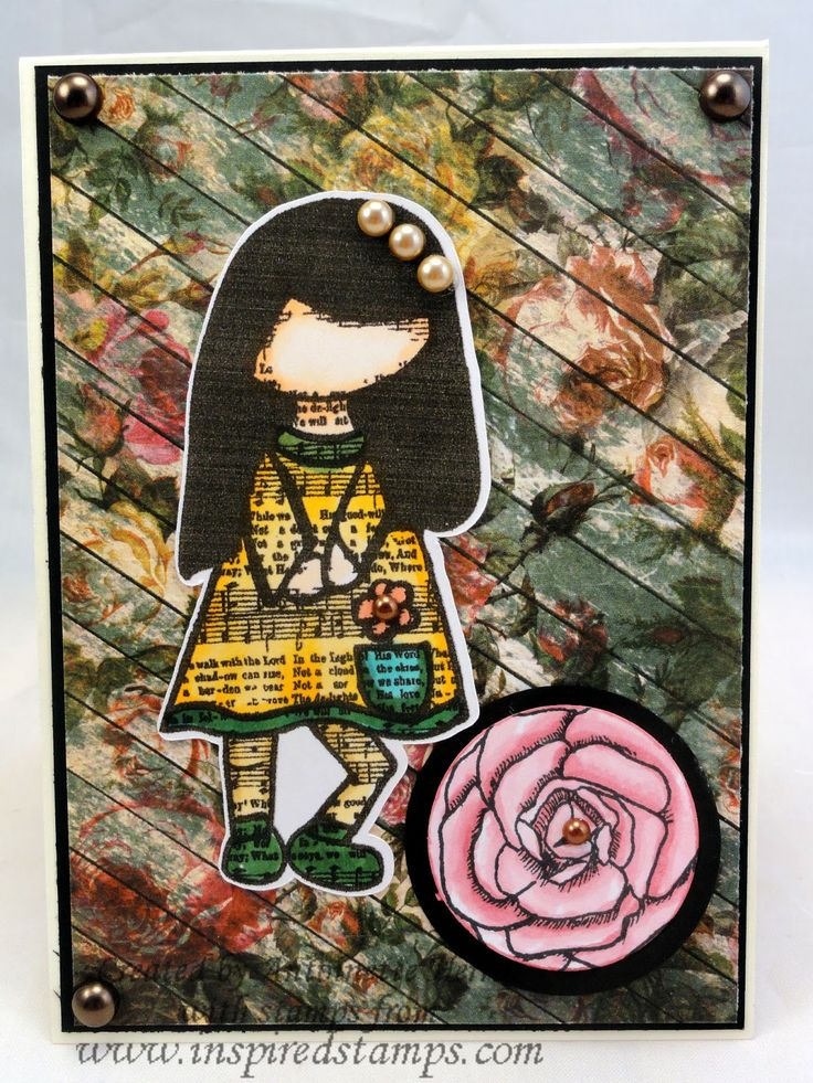 art; journal; cards; character card; MAY; Flowers; Inspired Stamps; Bazzill; artwork at www.inspiredstamps.blogspot.com