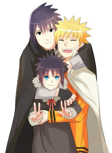 Yayyyy!! SasuNaru and their child!...kidding <--- If you think about this... it could be true, but Sasuke is smiling, so it's just fanart~