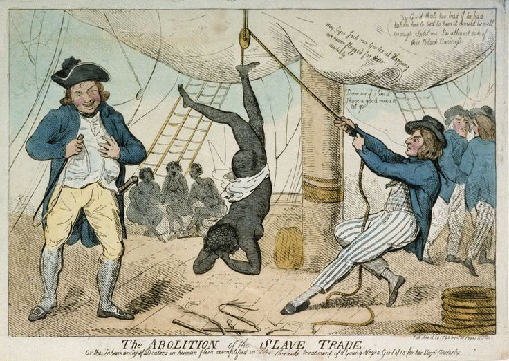 Cruikshank's print relates to the notorious case of Captain John Kimber of the merchant ship Recovery. In the House of Commons on 2 April 1792, William Wilberforce accused Kimber of brutally assaulting and murdering a teenage slave girl, who refused to dance on deck. The incident took place on 22 September 1791, when the ship was bound for Grenada.
