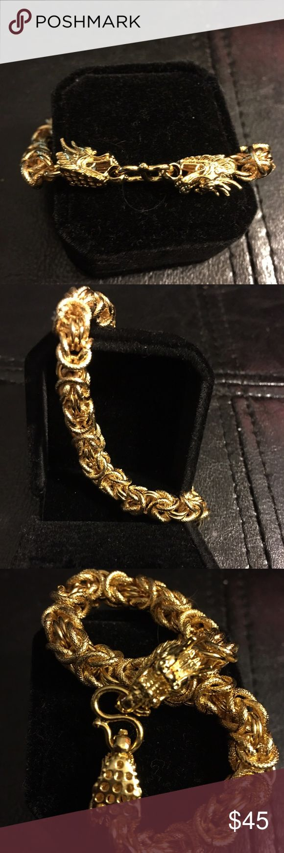 Men's 18K Gold Plated Cool Double Dragon Bracelet Men's 18K Gold Plated Cool Domineering Double Dragon Clasp Bracelet Queen Esther Etc Accessories Jewelry