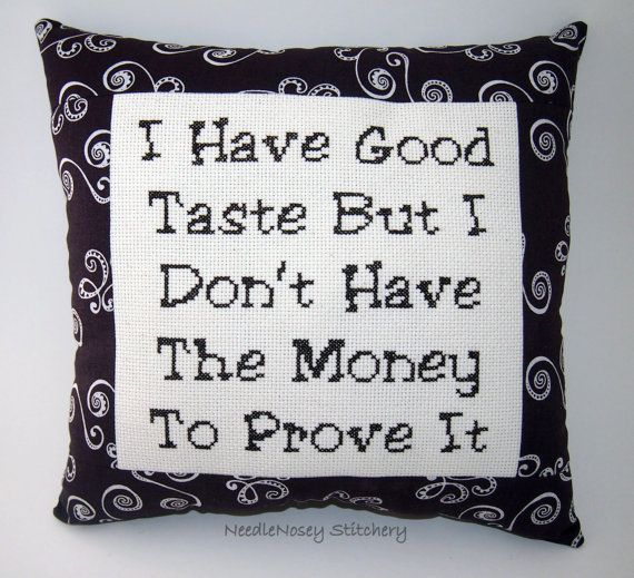 Funny Cross Stitch Pillow Brown Pillow Good Taste by NeedleNosey, $23.00