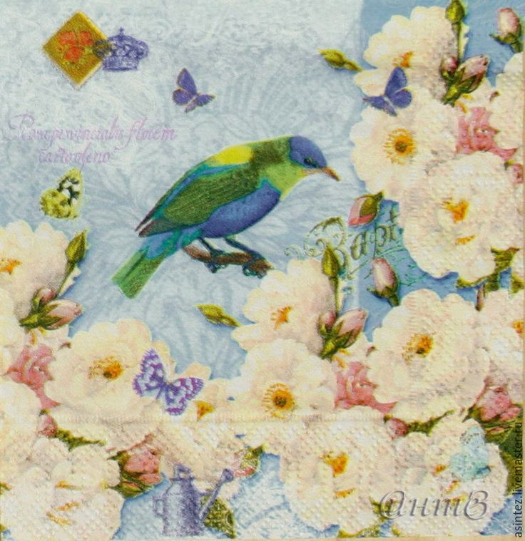 Купить салфетка декупажная Яблоня винтаж райские птицы - салфетка для декупажа, салфетки декупажные