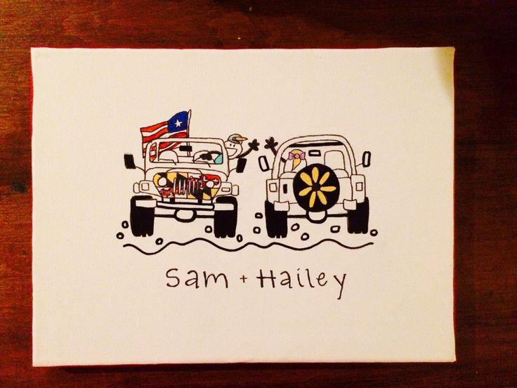 Big Little Sorority - Jeep Life Canvas Painting - Sorority Canvas - Home Decor - Wall Art - Custom Canvas by HolyCityHailey on Etsy https://www.etsy.com/listing/237289708/big-little-sorority-jeep-life-canvas