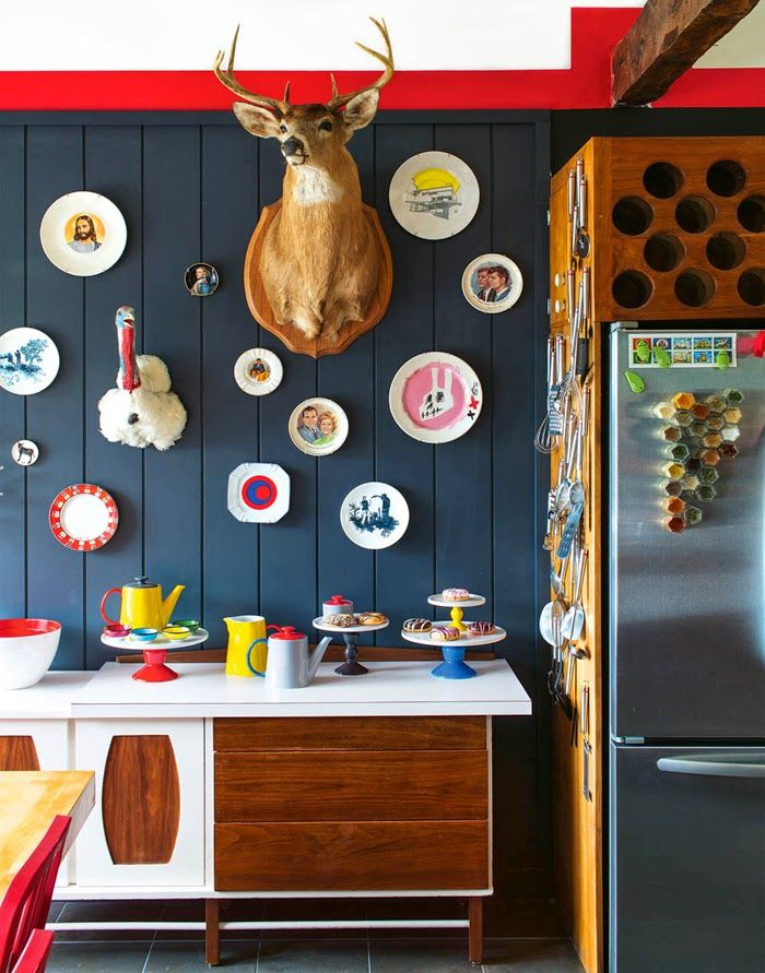 Love the cabinet & wall, could live without the deer head.