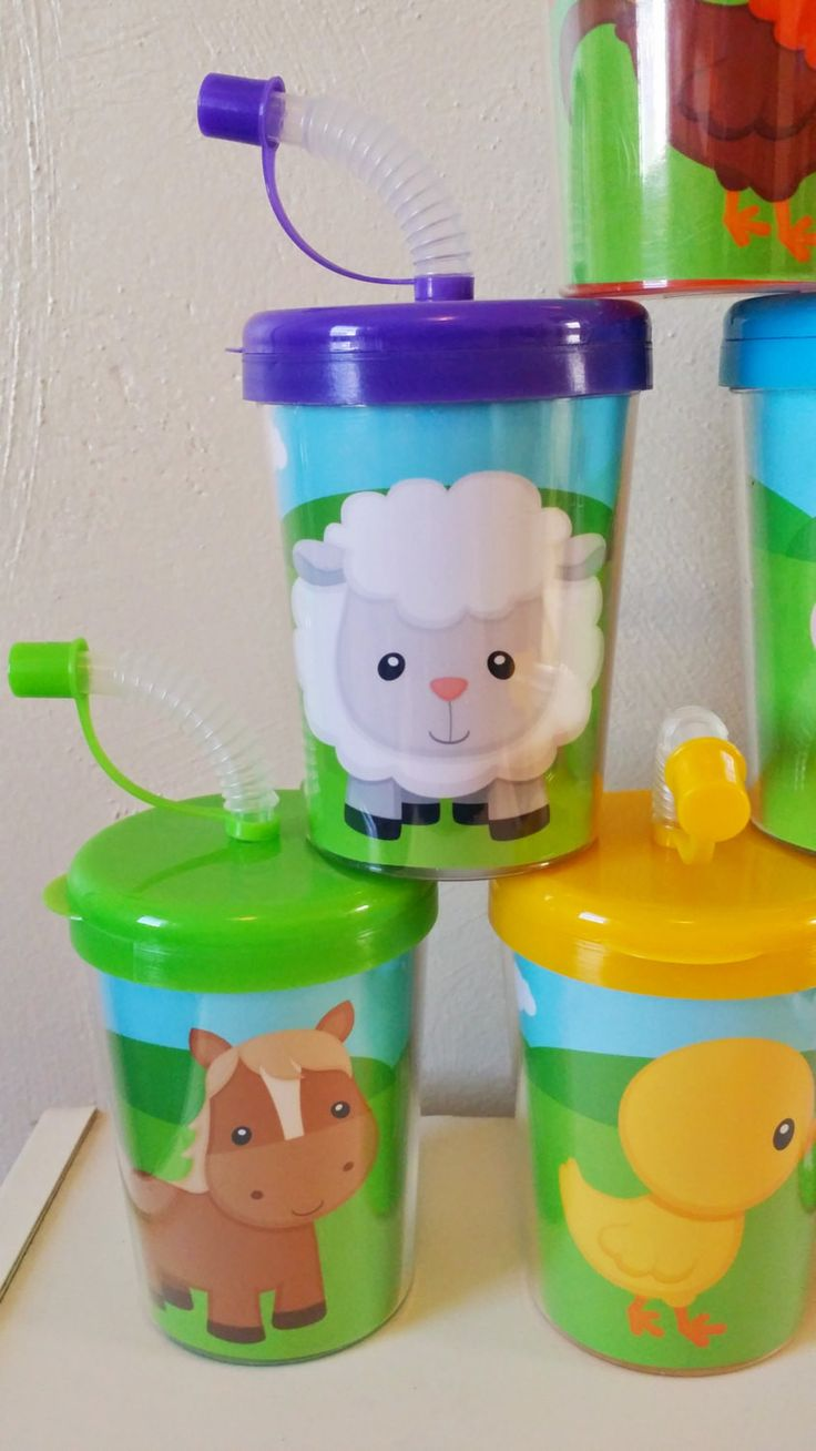 Farm Animals Party Favor Cups, Birthday Treat Cups, Cow, Horse, Duck, Sheep, Bird, Pig Barn Rooster Set of 6