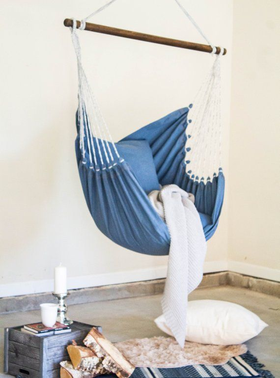 Denim Hammock Chair Blue Jeans Hammock Swing Chair Indoor Etsy In 2020 Swing Chair Bedroom Hammock Swing Chair Black Cafe Chairs