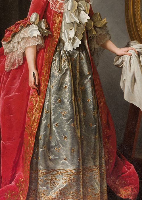 vivelareine:  Fashion detail from a portrait of Madame Adelaide, daughter of Louis XV, by Adélaïde Labille-Guiard. 18th century.