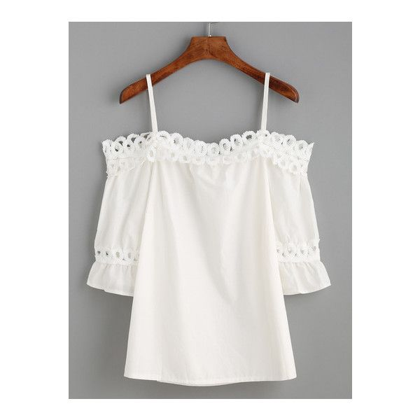 SheIn(sheinside) White Cold Shoulder Appliques Hollow Out Ruffle... (780 DOP) ❤ liked on Polyvore featuring tops, blouses, white, ruffle collar blouse, collar blouse, elbow length sleeve tops, flutter sleeve top and flutter sleeve blouse