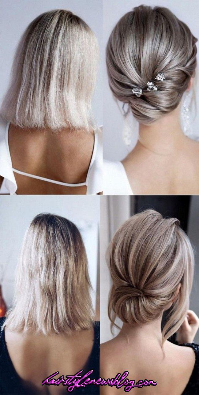 20 Medium Length Wedding Hairstyles For 2019 Brides Short Hair Updo Mother Of The Bride Hair Bridal Hair Up In 2020 Short Hair Updo Short Wedding Hair Classic Updo
