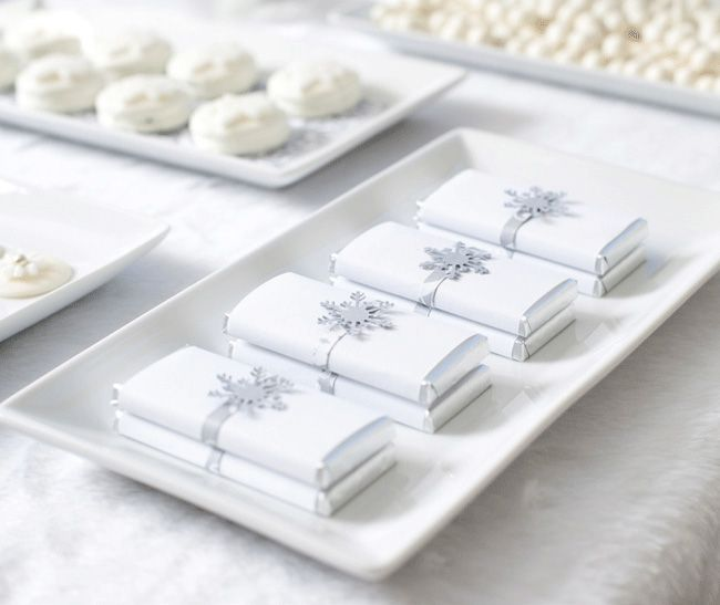 white Christmas dessert table - love the chocolate bars wrapped in white and a silver snowflake...beautiful!: Christmas Desserts, Christmas Dessert Tables, Candy Bars, White Wedding, Wedding Ideas, Winter Wonderland, White Christmas, Winter Weddings