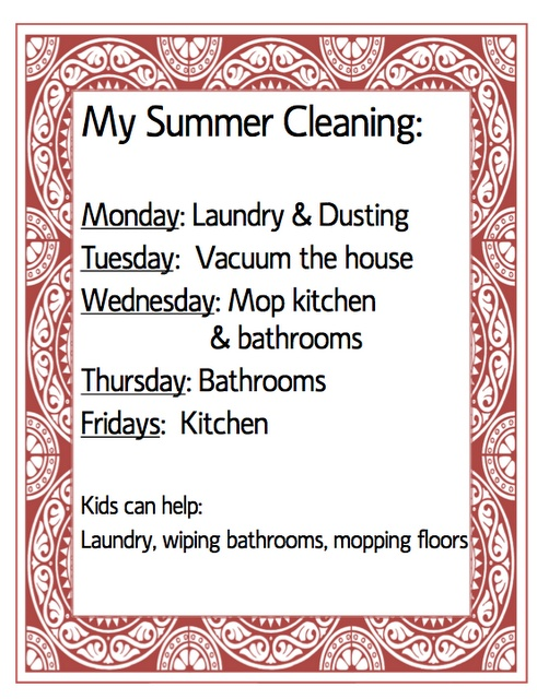 Cleaning Schedule...something I need to start!