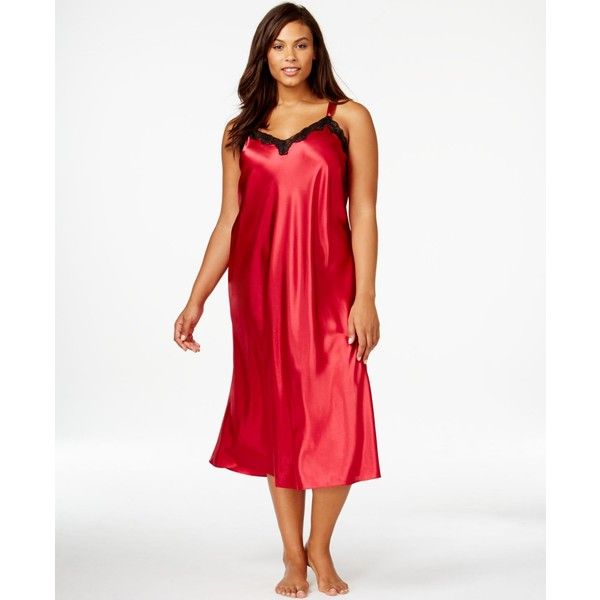 Morgan Taylor Plus Size Satin Nightgown ($33) ❤ liked on Polyvore featuring plus size fashion, plus size clothing, plus size intimates, plus size sleepwear, plus size nightgowns, red, morgan taylor, red nightgown, womens plus size nightgowns and plus size womens sleepwear