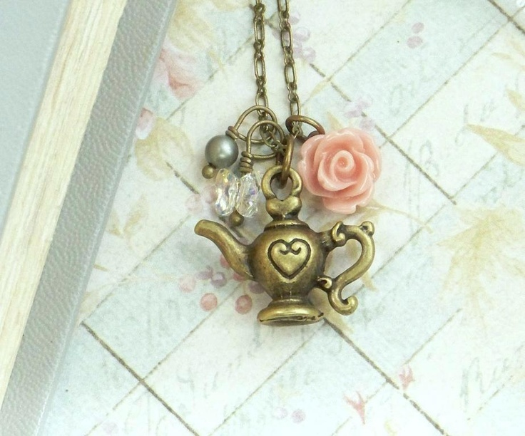 teapot necklace shabby chic jewelry rose necklace teapot. Black Bedroom Furniture Sets. Home Design Ideas