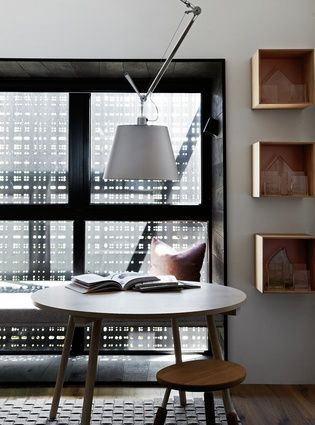 Perforated privacy screens help to break down the natural light and direct views.