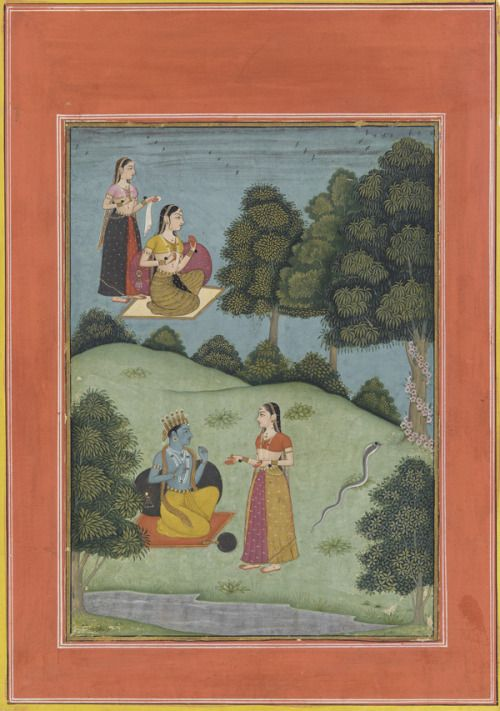 Krishna talking with a confidante of Radha from the Rasikapriya 1683 Bikaner, India. by Nuruddin Opaque watercolor and gold on paper