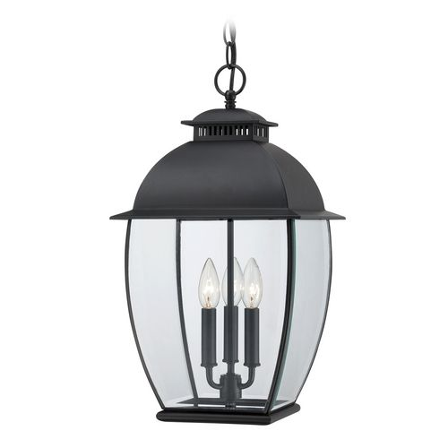 Outdoor Hanging Light with Clear Glass in Mystic Black Finish at Destination Lighting