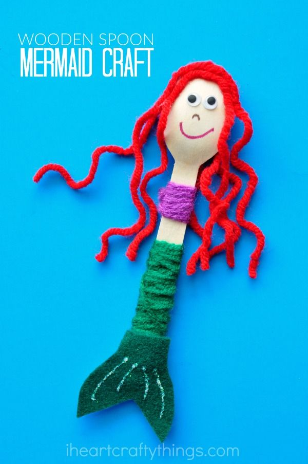 If you have mermaid fans at your house, they are going to love this cute wooden spoon mermaid craft. The little mermaids make great puppets for imaginative play and the yarn wrapping is great for strengthening fine motor muscles.