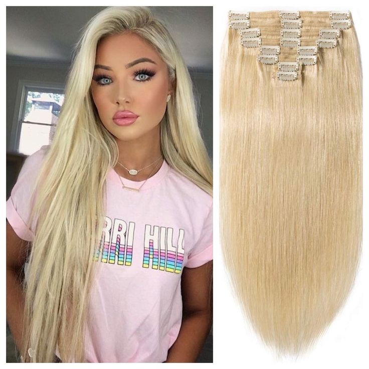 """Bleach Blonde Hair Extensions – Straight Hair 24"""" 165g"""