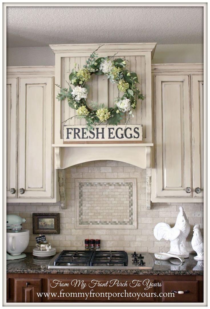 kitchen farmhouse decor above cabinets