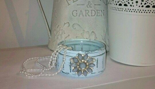 Upcycled Shabby Chic Glass Jar
