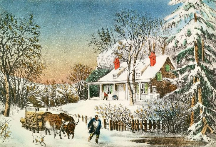 Bringing Home the Logs, Winter Landscape, 19th century (colour litho) by Currier, N. (1813-88) and Ives, J.M. (1824-95); colour lithograph