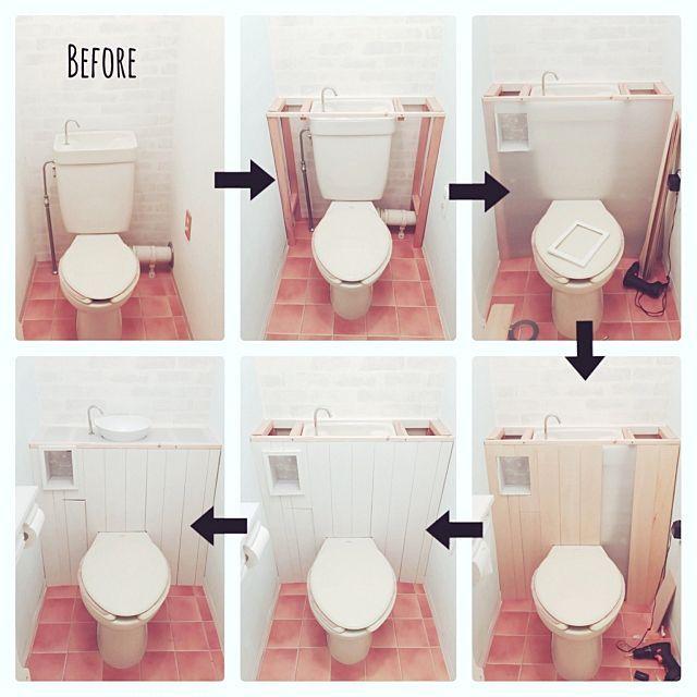 女性で、3LDKのCOSTCO/リメイク/ホワイト化/DIY/大家族/シンプルナチュラル…などについてのインテリア実例を紹介。「ここ数日、コツコツとこんなことしてました♪ タンクレスDIY!! 角材で枠➡︎愛するプラダンをペタリ➡︎ベニヤで板壁➡︎白ペンキ➡︎天板用プラダンに穴を開けて、IKEAでたまたま見つけたお風呂セットの風呂桶に穴を開けて設置➡︎まだ途中✩⃛ 材料が届いておらず未完成ですが、やっと形になりました♡」(この写真は 2016-05-12 16:38:13 に共有されました)