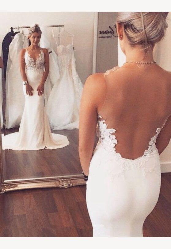 Charming Mermaid Wedding Dresses,Long See Through Wedding Dresses,Wedding Dresses