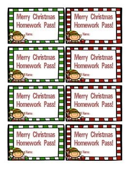 Wish your students a Very Merry Christmas with this Free Homework Christmas Pass!  Please leave positive feedback if you like this product! Thank you!