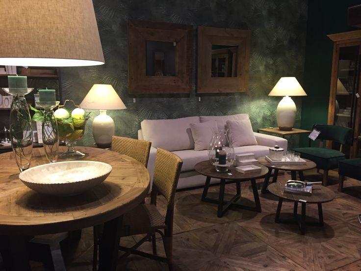 дизайн интерьера Гостиная столовая обои джунгли зеленый розовый  Brucs  Interior Design Living room Background jungle green pink by Bruks