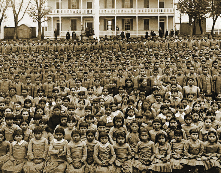 Celebrating Genocide – Christopher Columbus' Conquest of America - the government engaged in a cultural assimilation campaign, forcing thousands of Native American children into boarding schools