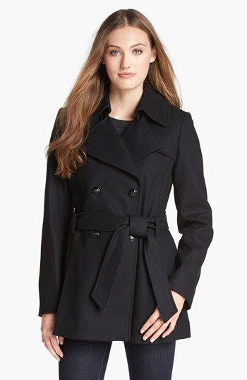 "Via Spiga Short Wool Blend Trench Coat  A cozy wool blend resets a classic trench for the cool, crisp days ahead. The double-breasted style is tailored with a pleat-back skirt for a touch of swingy flare. 29 1/2"" length (size Small). Gunflaps. Removable belt. Front pockets. Lined. 60% wool, 30% polyester, 10% viscose rayon. Dry clean. By Via Spiga; imported. Coats."