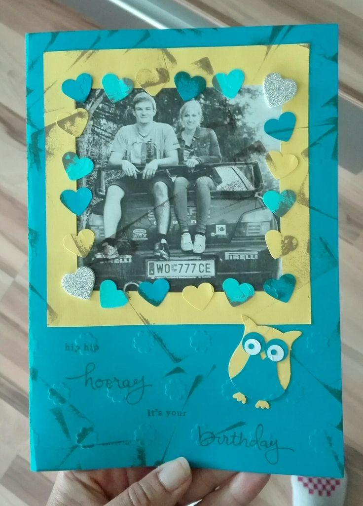#Geburtstagskarte#Eule#Herzen