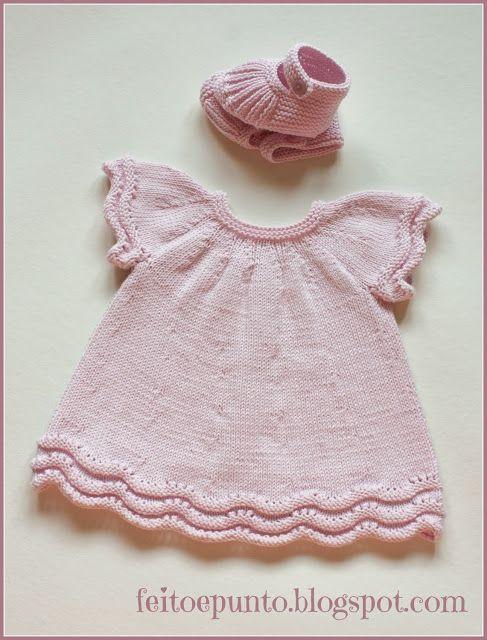 vestido de punto en algodón rosa PASO A PASO, puntadas y disminuciones.
