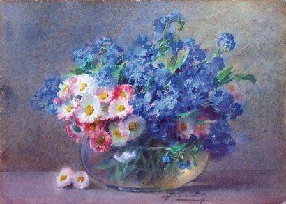 blanche odin 1865 1957 bouquet de fleurs aquarelle sign e en bas vers le art fleurs. Black Bedroom Furniture Sets. Home Design Ideas
