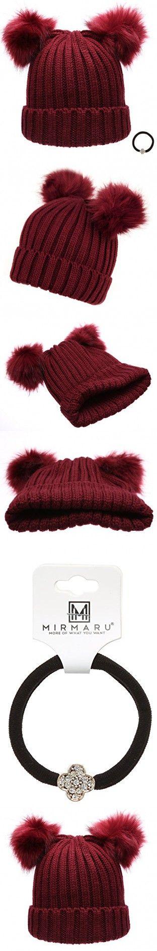 Women's Winter Chunky Knit Double Pom Pom Beanie Hat With Hair Tie.(Burgundy)