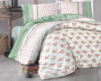 Купить постельное белье RANFORCE AHSEN зеленое 50х70 евро от производителя Altinbasak (Турция)