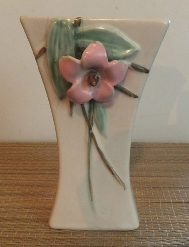 "Vintage C 1940 McCoy Pottery Blossomtime Pink Green 6 1 4"" Vase.  Latest addition to my collection."