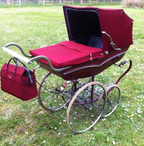Original Vintage Coach Built Silver Cross Pram Rolls Royce Red!