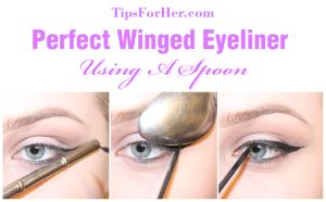 Perfect Winged Eyeliner Using A Spoon